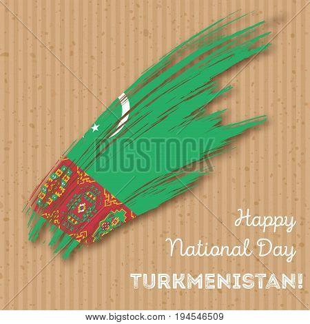 Turkmenistan Independence Day Patriotic Design. Expressive Brush Stroke In National Flag Colors On K