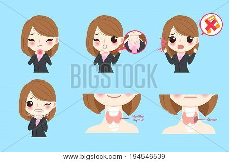 businesswoman with thyroid cancer on the blue background