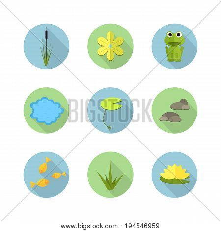 Cartoon vector garden pond icons with water, plants and animals. Isolated summer pond life clipart in flat style.