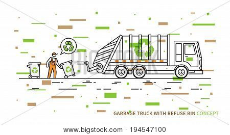 Refuse vehicle with dustbins vector illustration. Garbage truck with dustman and recycle sign graphic design with colorful elements.