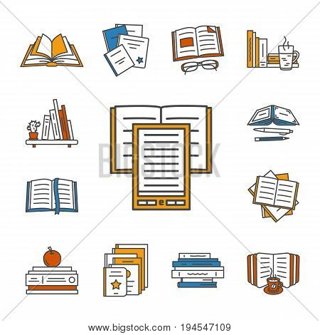 Thin lined book icons set. Vector isolated on white outlined signs of different opened and closed books in front and top view.