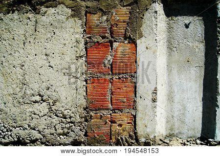 Brick concrete wall. Brick texture, brick background. Concrete texture, concrete background. Wall. Brick. Concrete. Concrete wall. Gray wall. Brickwork.