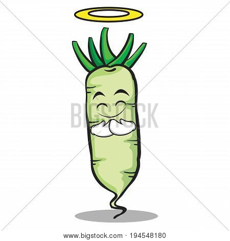 Innocent white radish cartoon character vector illustration