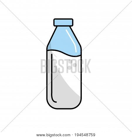 milk bottle glass with calcium nutrients vector illustration