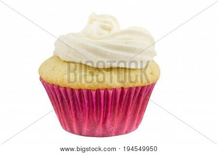One rustic vanilla sponge cup cake in pink paper case isolated on white background