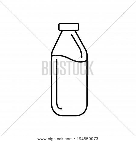 line milk bottle glass with calcium nutrients vector illustration