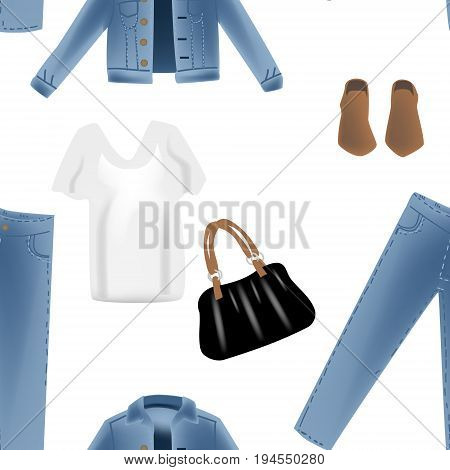 Fashion vector seampless pattern include photo realism illustration with blue denim jeans jacket. Isolated on white background