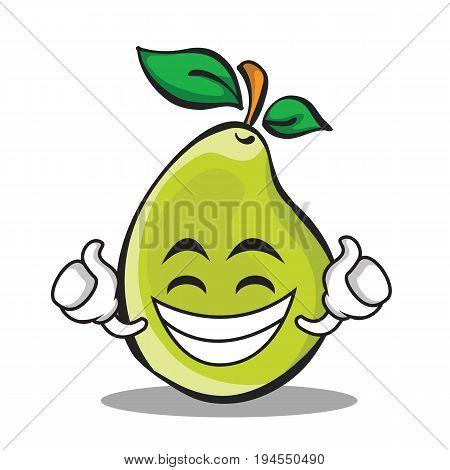 Proud face pear character cartoon vector illustration