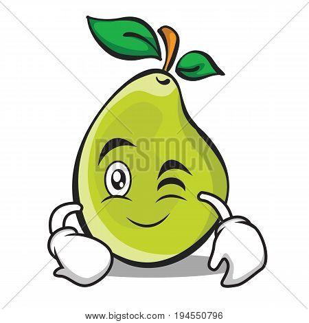 Wink face pear character cartoon vector illustration