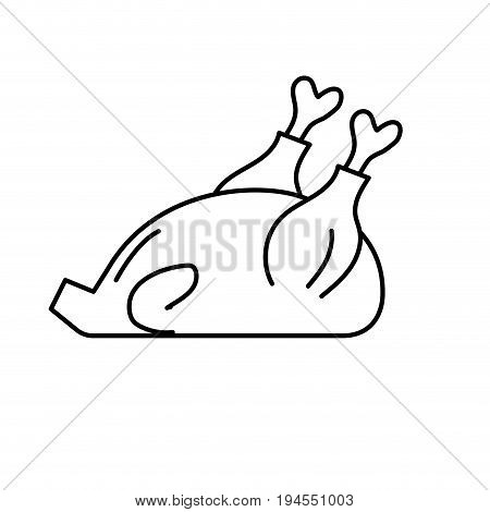 line delicious chicken food with natural nutrients vector illustration