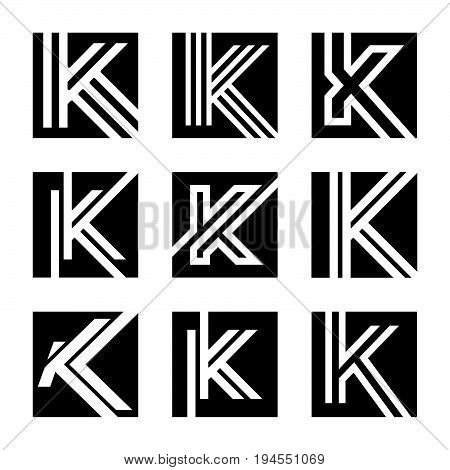 Abstract letter K vector logo concept. Style K vector logo. Color black letter K logo vector template. Letter K logo for technology
