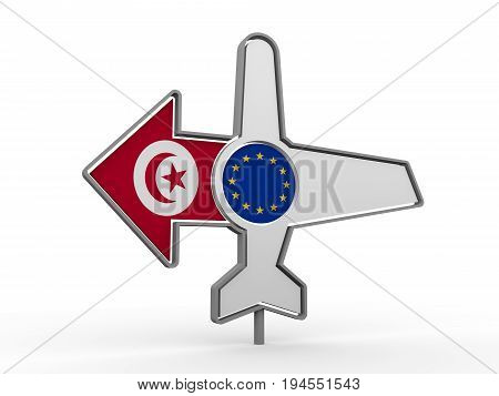 Emblem design for airlines, airplane tickets, travel agencies. Airplane icon and destination arrow. Flags of the European Union and Tunisia. 3D rendering