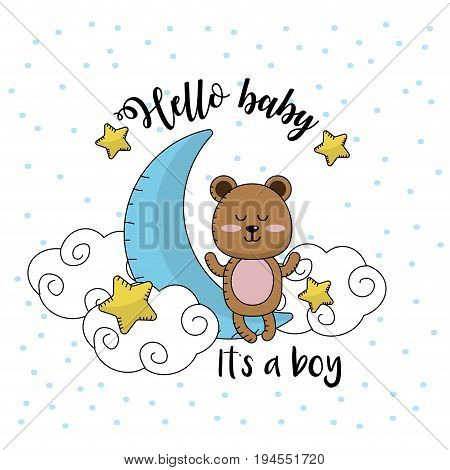 baby shower card to welcome a boy vector illustration