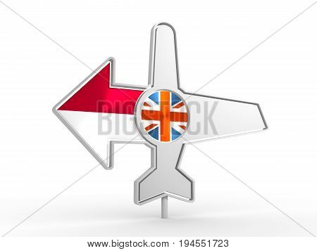 Emblem design for airlines, airplane tickets, travel agencies. Airplane icon and destination arrow. Flags of the Great Britain and Monaco. 3D rendering