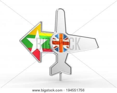 Emblem design for airlines, airplane tickets, travel agencies. Airplane icon and destination arrow. Flags of the Great Britain and Myanmar. 3D rendering