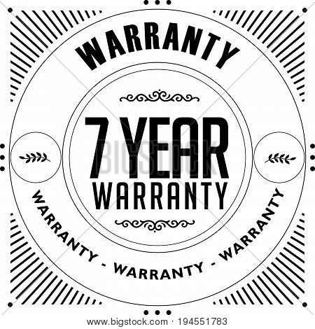 7 year warranty vintage grunge rubber stamp guarantee background