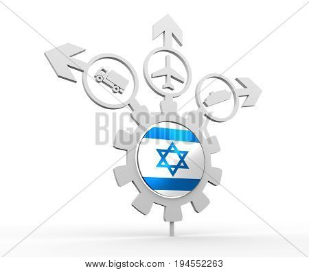 Delivery emblem design. Truck, airplane and ferry boat icons on destination arrows. Flag of the Israel in the center of gear. 3D rendering