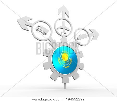 Delivery emblem design. Truck, airplane and ferry boat icons on destination arrows. Flag of the Kazakhstan in the center of gear. 3D rendering