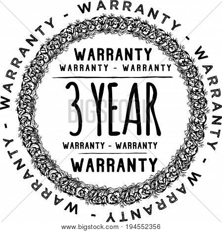 3 year warranty vintage grunge rubber stamp guarantee background