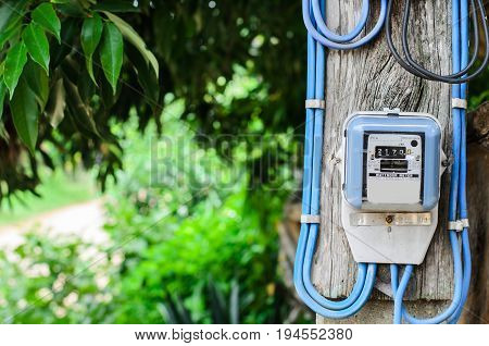 electricity meter installed on poles high at home