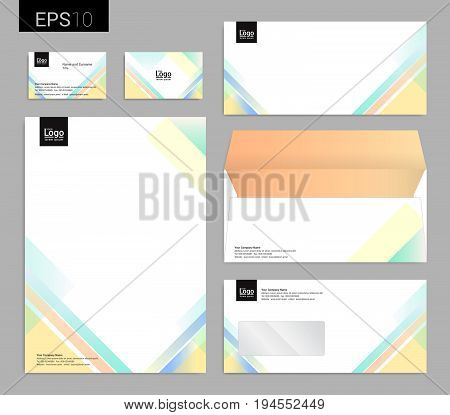 Modern stationery set in vector format letterhead business card envelope