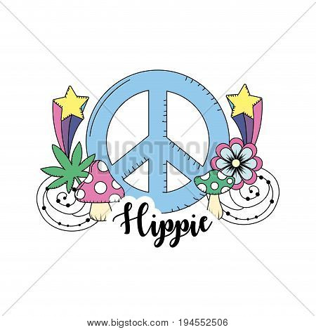 hippie culture of peace and love to lifestyle vector illustration