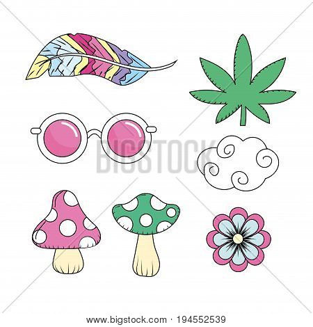 set elements to used of hippie people vector illustration