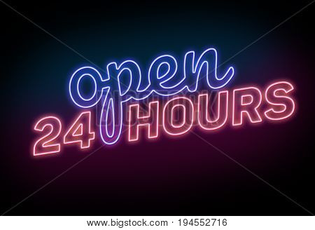 Blue and Red Neon Lighted Open 24 Hours Sign on the Black Background