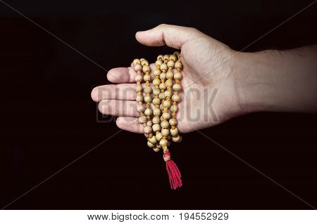 Wooden Islamic Prayer Beads In Hand