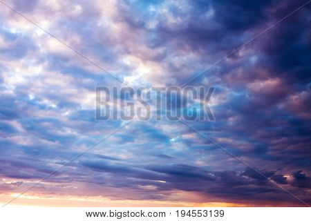 beautiful landscape with sky and clouds at sunrise sunset. view of heaven morning evening
