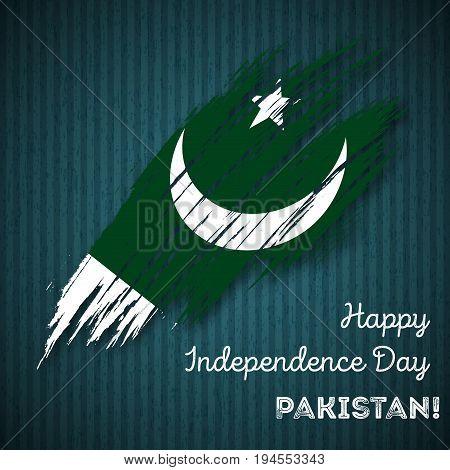 Pakistan Independence Day Patriotic Design. Expressive Brush Stroke In National Flag Colors On Dark