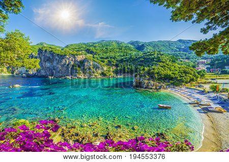 Amazing bay with crystal clear water in Paleokastritsa Corfu island Greece