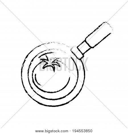 figure tomato vegetable inside skillet pan vector illustration