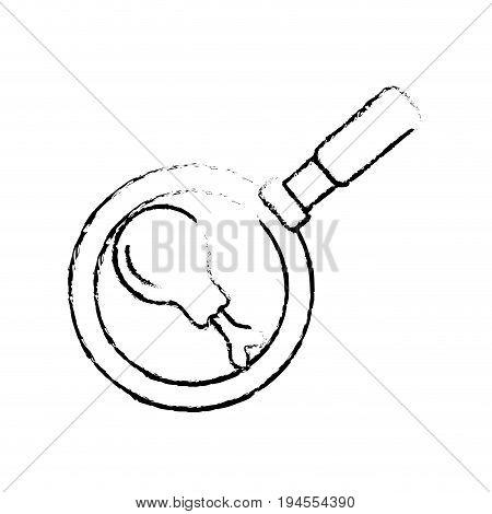 figure fried thigh of chicken inside skillet pan vector illustration