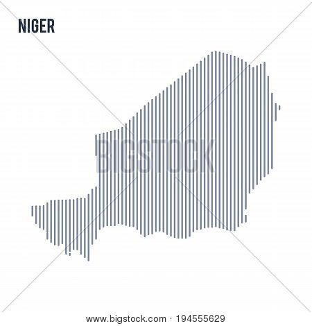 Vector Abstract Hatched Map Of Niger With Vertical Lines Isolated On A White Background.