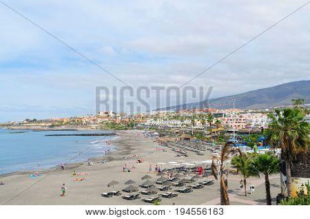 PLAYA LAS AMERICAS; Canary islands Tenerife Spain - March 22 2017. Beautiful coastal view of Fañabe beach in Costa Adeje Tenerife Canary islands Spain.