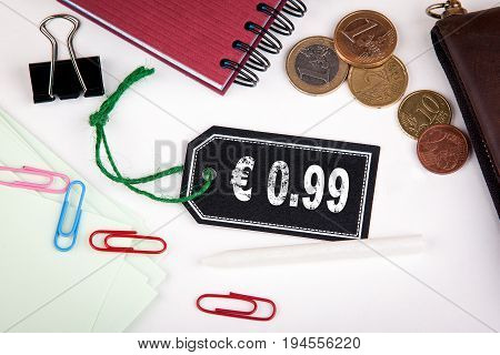 0.99 euro cent. Price tag with string on a white background.
