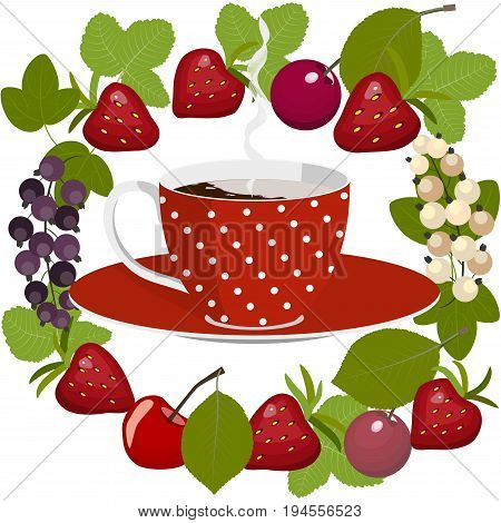 Red spotted cup of hot coffee with cream on a saucer in a circle of summer berries, strawberries, cherries and currants with leaves, isolated on white background, vector illustration