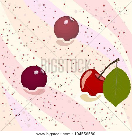 Seamless pattern cherry mousse with ripe berries, vector illustration