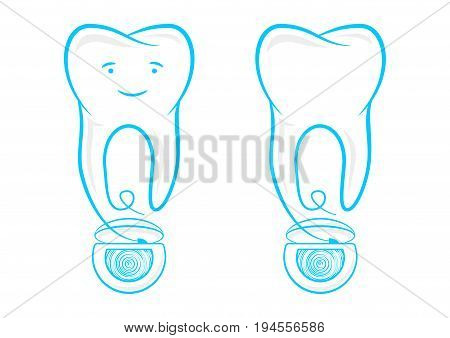 Floss string with tooth vector illustration. Thread for tooth cleaning: hygiene flossing graphic design. Dental floss for daily teeth healthcare creative concept.