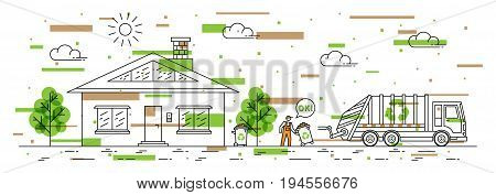 House and garbage truck with recycle sign vector illustration with colorful elements. Dustman carries out rubbish bin line art concept. Refuse collector removes garbage near by house graphic design.
