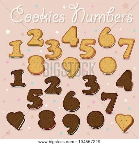 Sweet Cookies Numbers. Yellow and Brown Numerals with colorful cream. Illustration