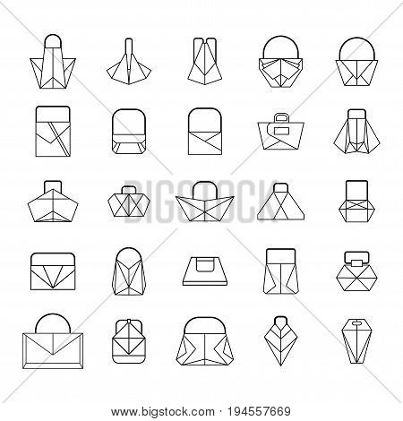 Set of different women fashionable origami handbag and bags. Flat vector cartoon illustration. Objects isolated on a white background.