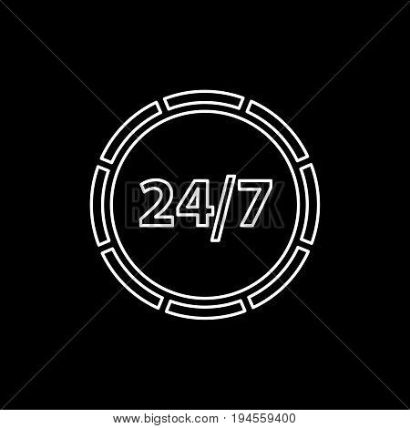 24 Hours Icon. Anytime Support Flat Vector Icon
