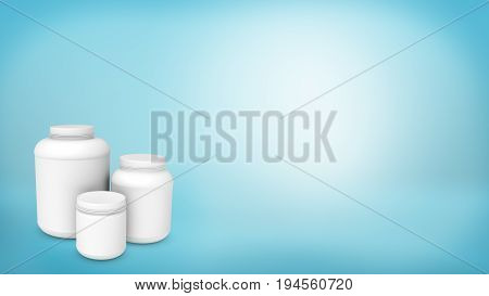3d rendering of a three differently sized white plastic cans without labels on blue background. Goods transportation. Cans and bottles. Chemicals and medicine.