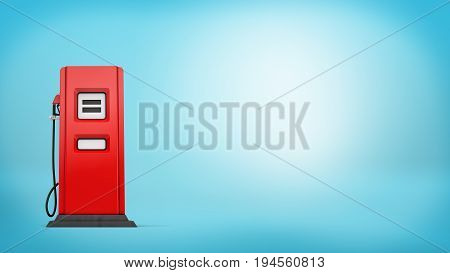 3d rendering of a single red gas pump with a nozzle attached standing on blue background. Gas station. Petrol prices. Road trip.