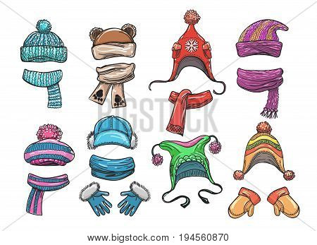 Vector hand drawn winter clothes for kids. Woolly hat, knitted scarf and warm mittens set isolated on white background