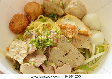 dried Chinese egg noodles topping fish ball and slice boiled pork on bowl