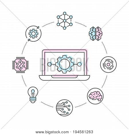 Business computing linear style infographics. Network cloud service, global data safety and interactive processing, financial system protection, online data backup conceptual vector illustration