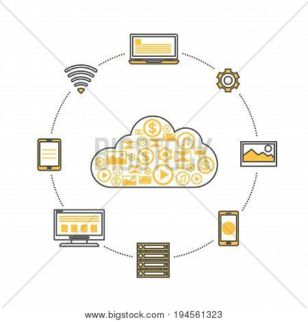 Global data storage linear infographics. Network cloud service, global data safety and interactive processing, financial system protection, online data backup conceptual vector illustration